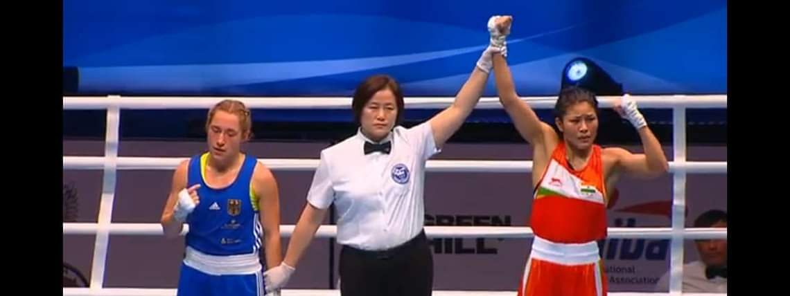 Jamuna Boro (right) defeated Germany's Ursula Gottlob to advance to the semis in the 51 kg category at the ongoing AIBA Women's World Boxing Championships 2019 in Russia