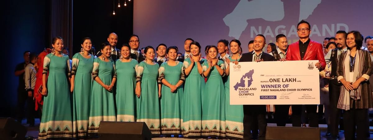 'Harmonic Voices', winner of the Nagaland Choir Olympics, awarded with a cash reward of Rs 1 lakh