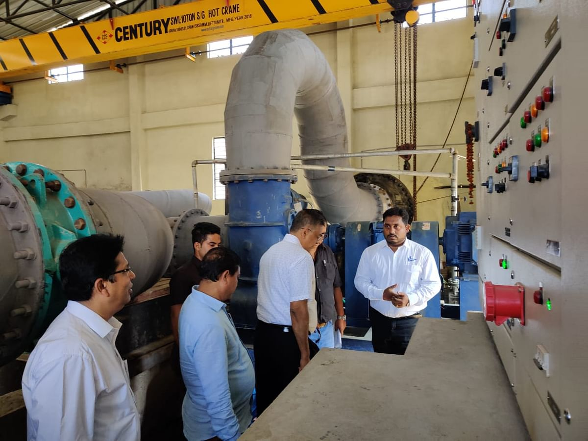 Assam minister Siddhartha Bhattarcharya inspecting the high-powered pumps installed at Noonmati pump house