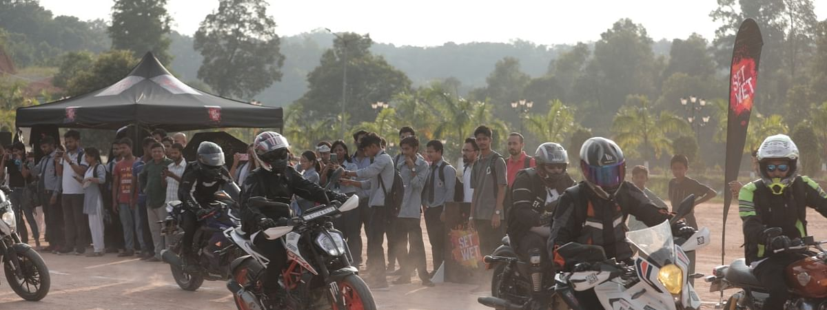 Assam Bikers conducting an initiative on the campus of USTM to promote safe riding