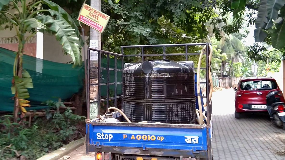 A vehicle selling groundwater plying on the streets of Guwahati