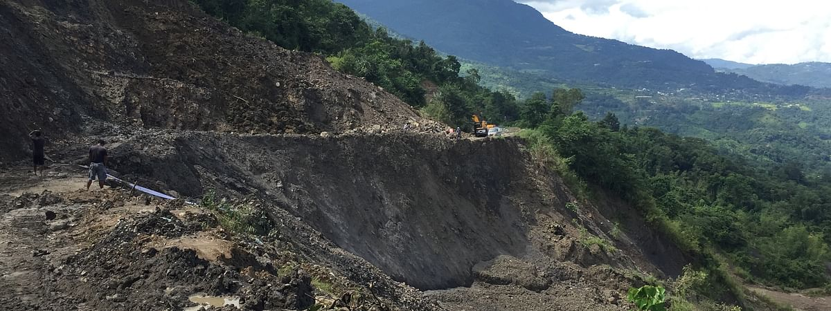 The sinking followed by landslide worsened the road situation