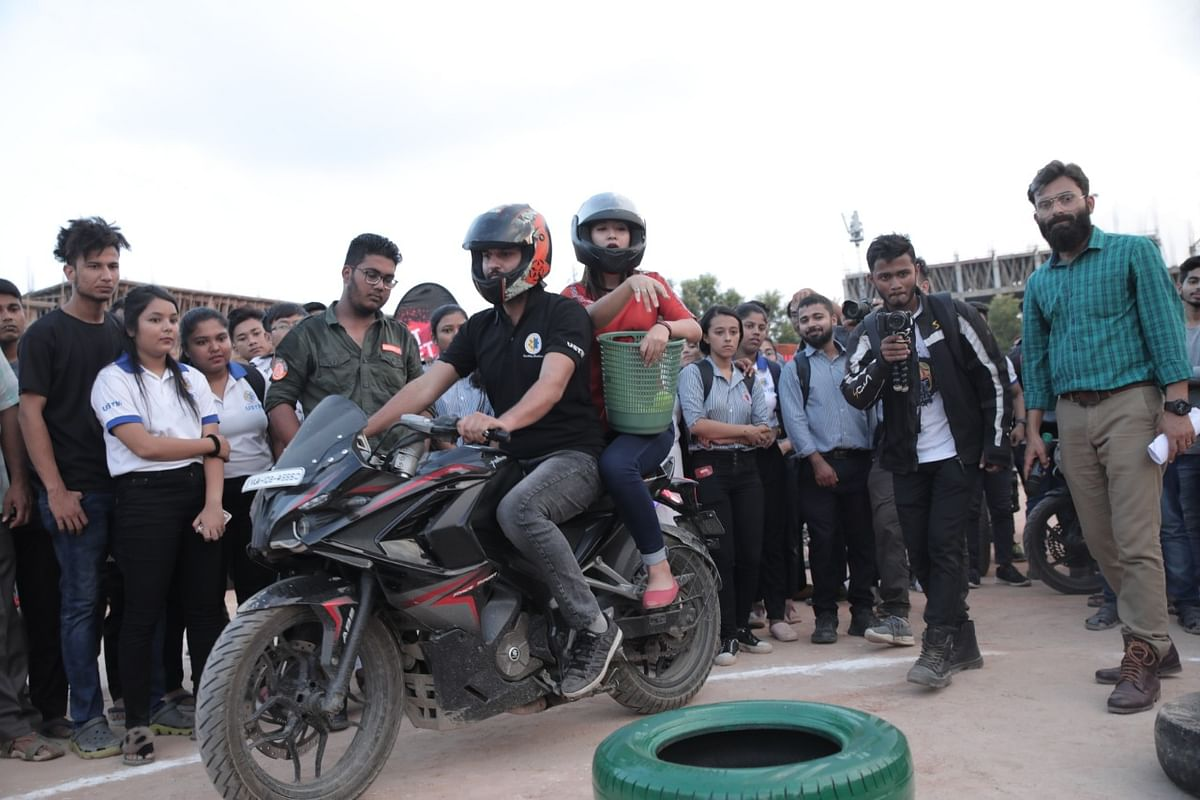 Students were seen taking part in many biking activities
