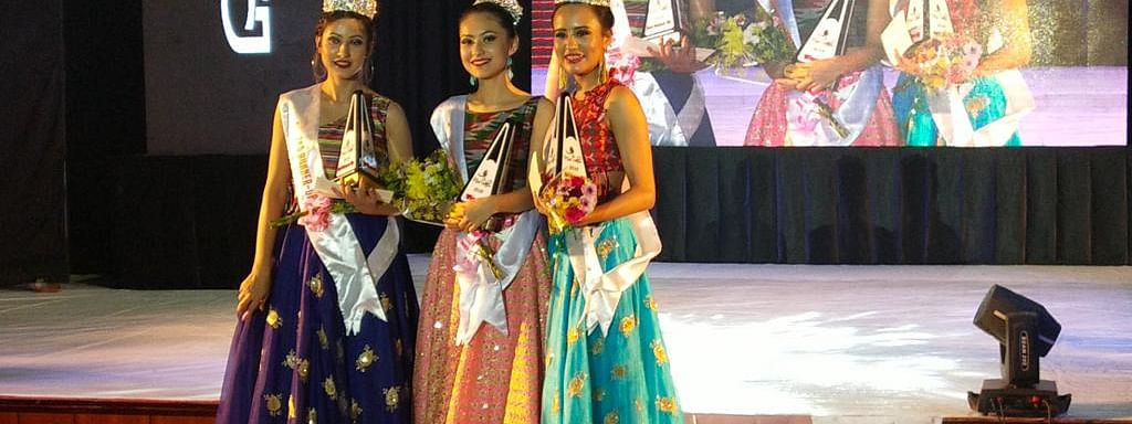 (Left to right) Bishnu Sharma (second runner up), Miss Sikkim 2019 Reetika Chettri and Sumana Gurung (first runner up)