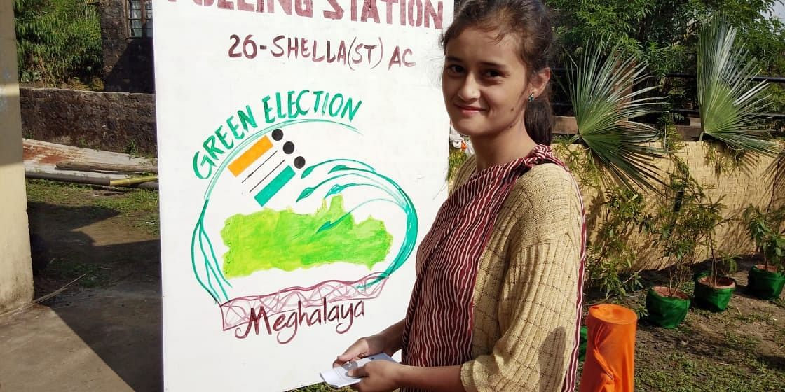 Some of the new voters are creating awareness among the masses about green elections in Meghalaya