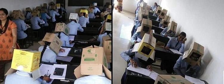 Students were made to ward cardboard hats in an attempt to stop cheating