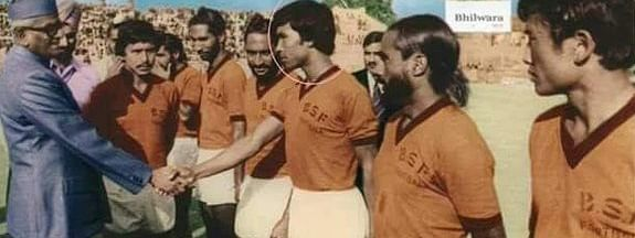 Manipur CM N Biren Singh (in circle) and his BSF football teammates being introduced to then President Neelam Sanjiva Reddy