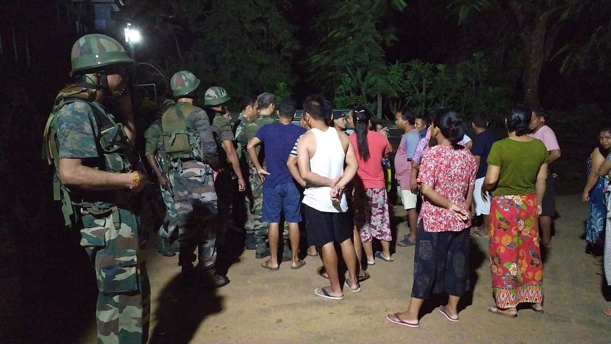 Locals gather at the site of blast in Manipur's Tengnoupal district on Friday evening