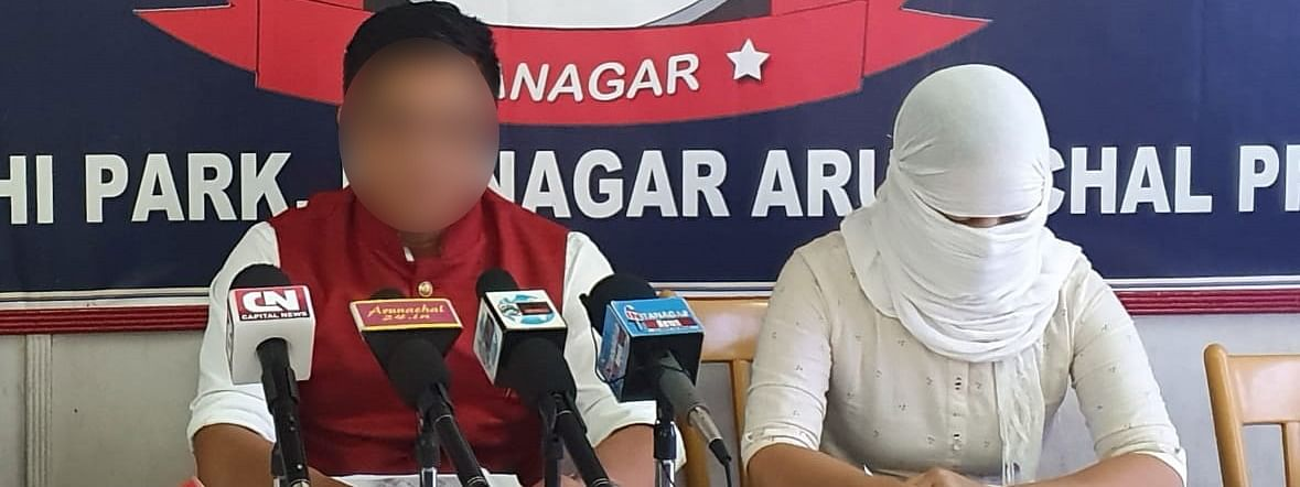 The victim (right) and her husband addressing the media in Itanagar on Thursday