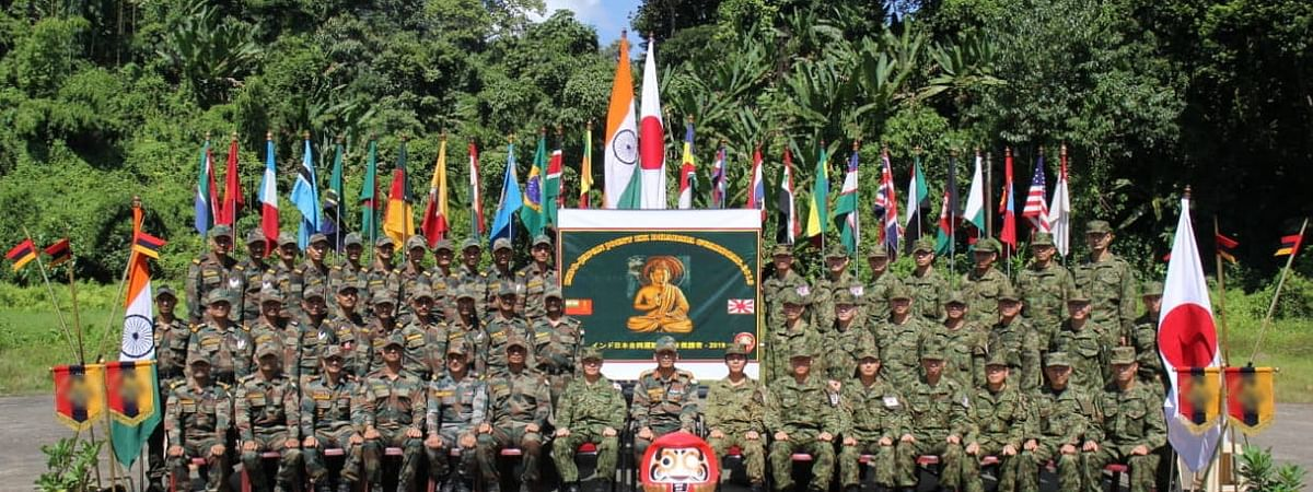 Indian and Japanese Army soldiers in a joint military exercise at Counter Insurgency and Jungle Warfare School (CIJWS) in Vairengte, Mizoram on Saturday