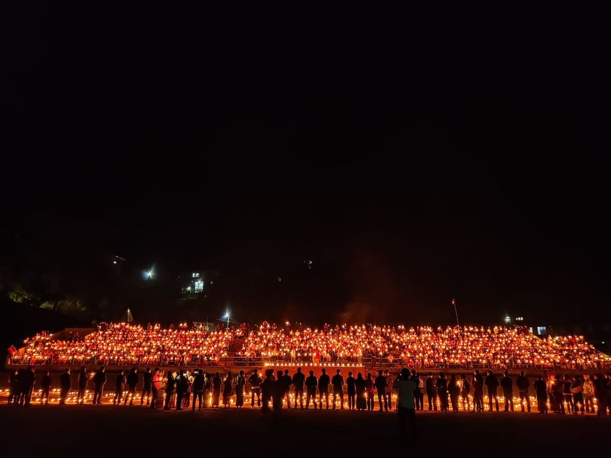 Thousands of Nagas residing in Tamenglong district of the state took part in the candlelight vigil for a peaceful Naga solution
