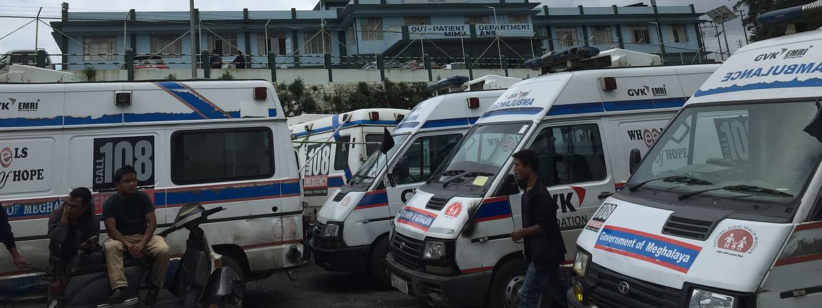 As part of the strike, over 200 field staffs have parked their ambulances at Lawmali, Shillong