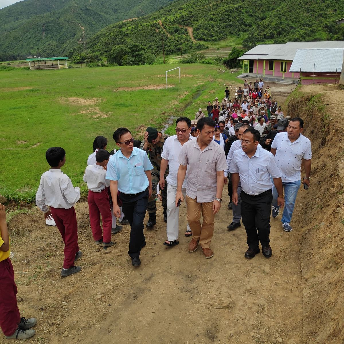Thokchom Radheshyam Singh, state education minister of Manipur, on a school tour