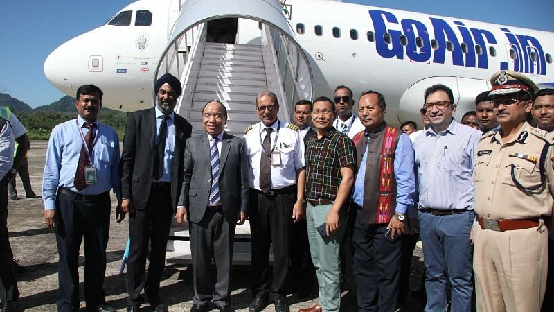 Miozram CM Zoramthanga with officials of AAI and GoAir