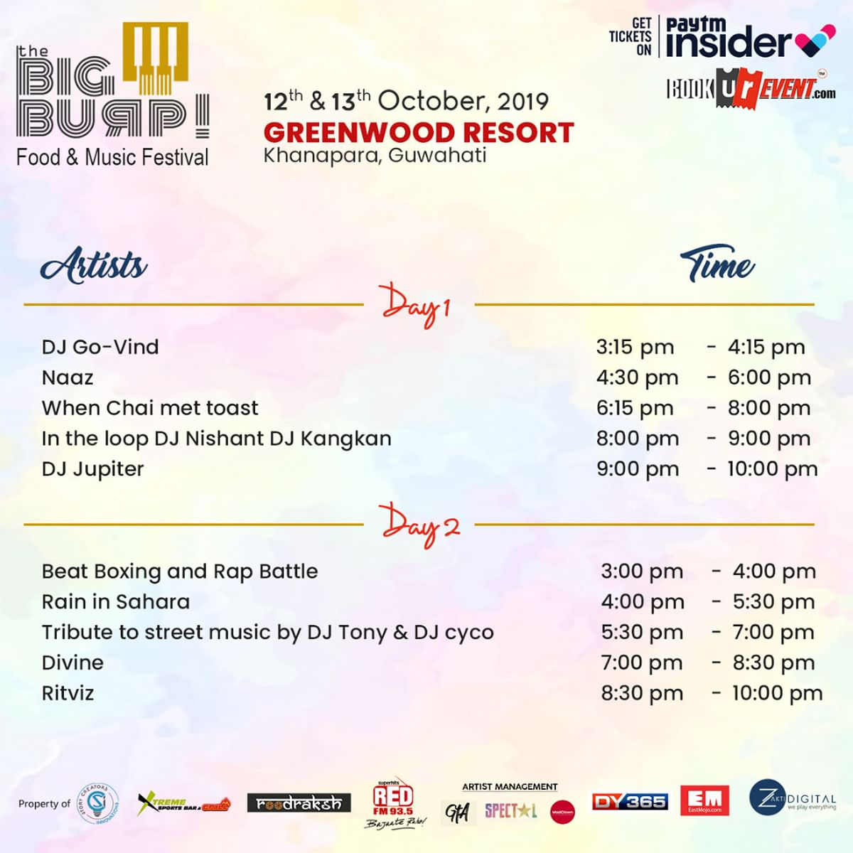 Schedule of events of The Big Burp! festival