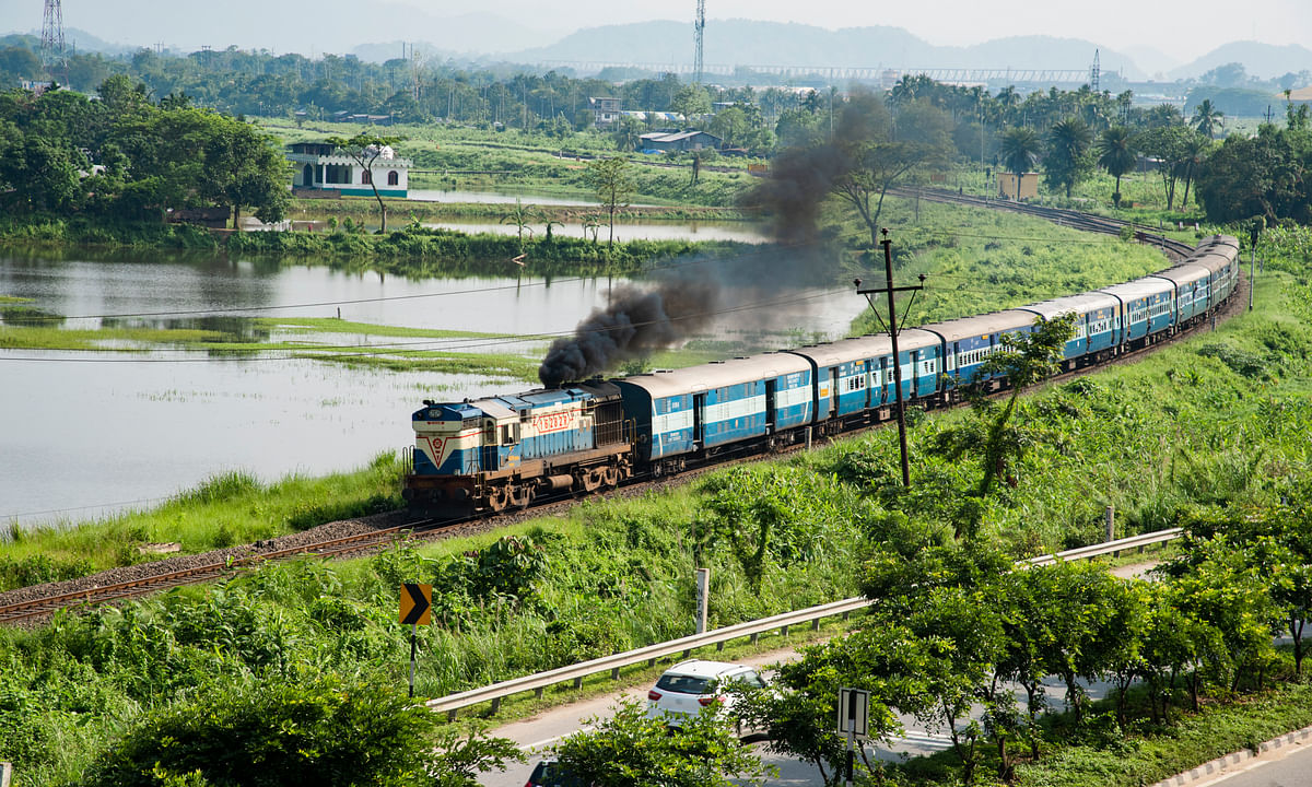 Train services disrupted due to breach of track in upper Assam