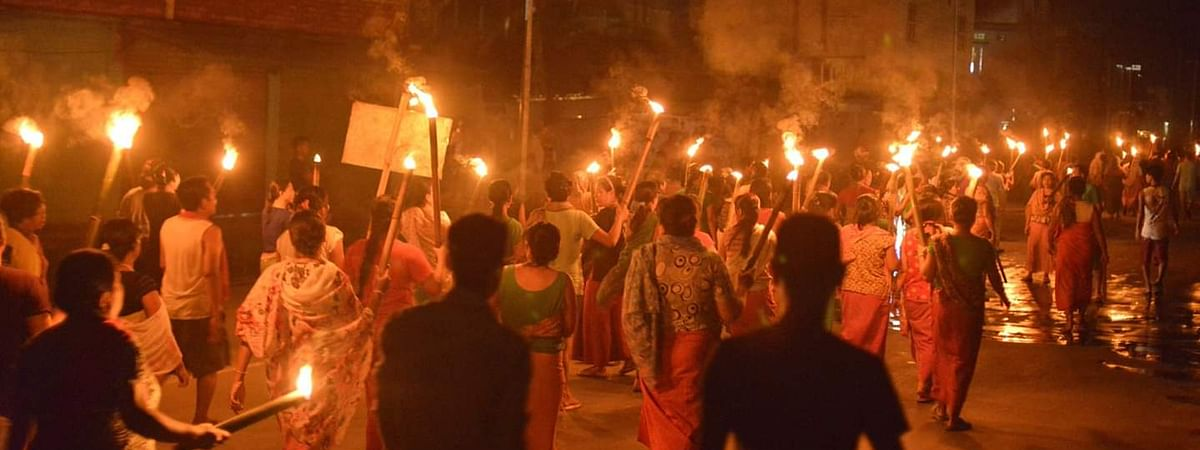 Protesters taking to the streets of Imphal over the Naga peace talks