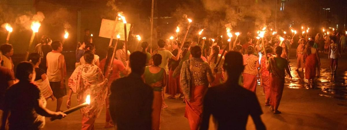 Women protesters took to the streets of Imphal and staged torch rallies on Friday evening