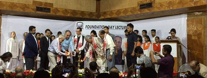 Dignitaries lighting the ceremonial lamp to inaugurate the Foundation Day lecture of North East Institute of Advanced Studies