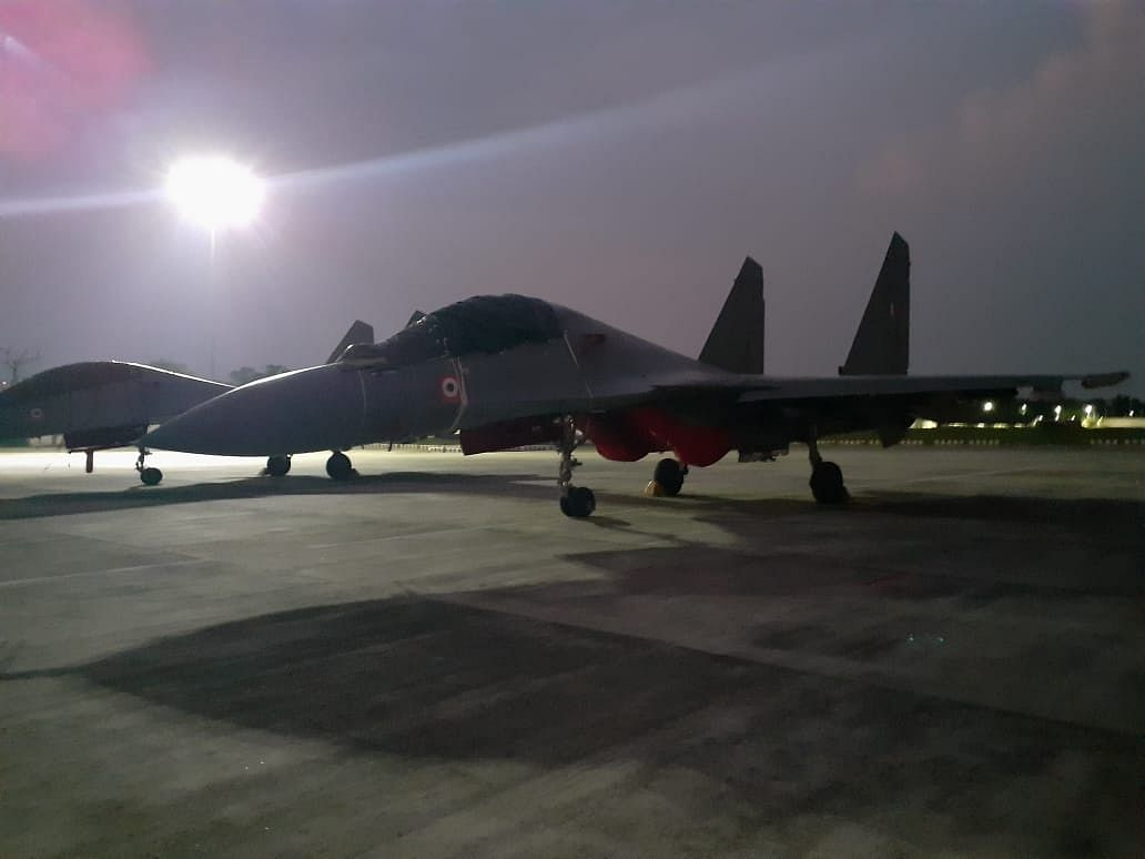 A Sukhoi fighter plane preparing for take-off