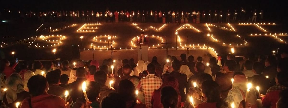Nagas residing in Tamenglong district of Manipur taking part in a candlelight vigil over the Naga peace talks