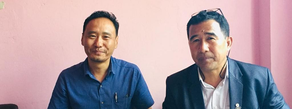 Nagaland Wrestling Association president, Neivikuolie Khatsu (right), and general secretary, Vekhozo, during the press conference held at the NWA office in Kohima on Wednesday