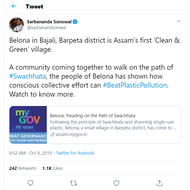 Assam CM Sarbananda Sonowal's tweet on Belona village