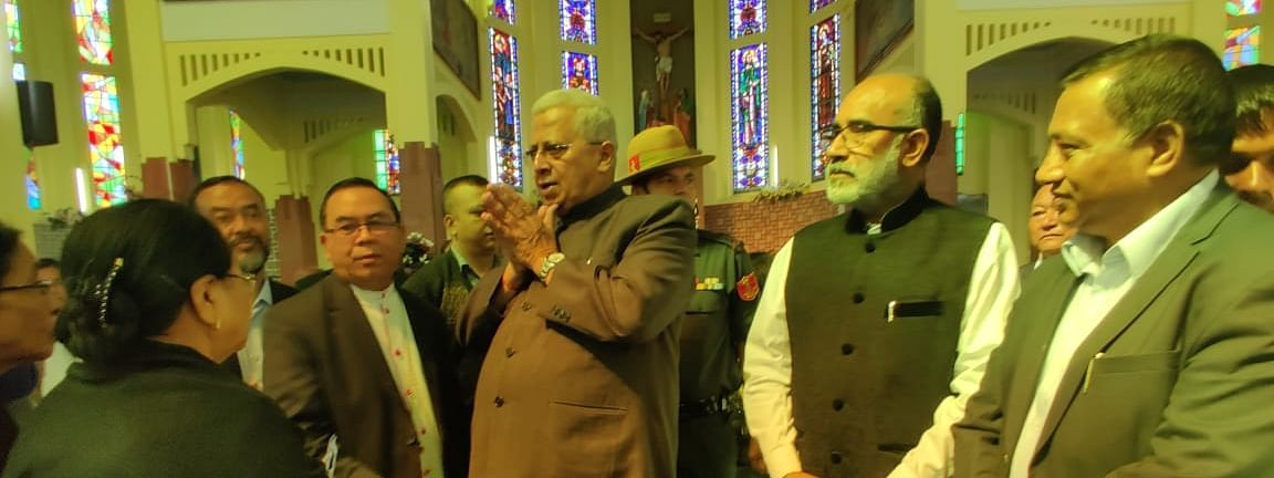 Meghalaya governor Tathagata Roy paying his last respects to Archbishop Dominic Jala in Shillong on Tuesday