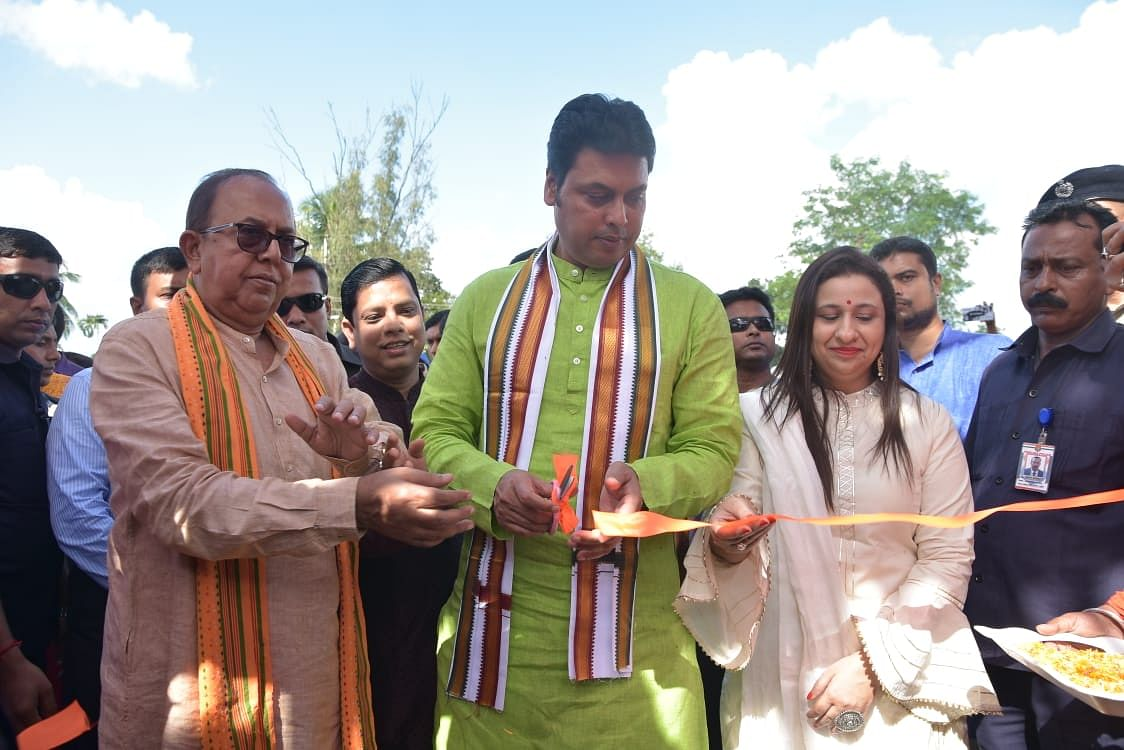 Assam minister and senior BJP leader Himanta Biswa Sarma visited Shanti Kali Temple at Khayerpur in Agartala during his tour of the state