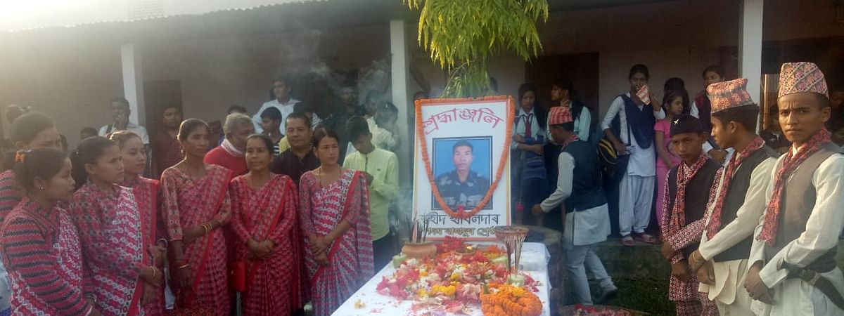 Villagers paying tributes to martyr Padam Bahadur Shrestha in his native place in Assam's Golaghat district