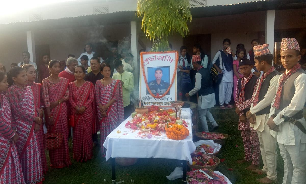 Mortals remains of Assam martyr Padam Bahadur consigned to flames