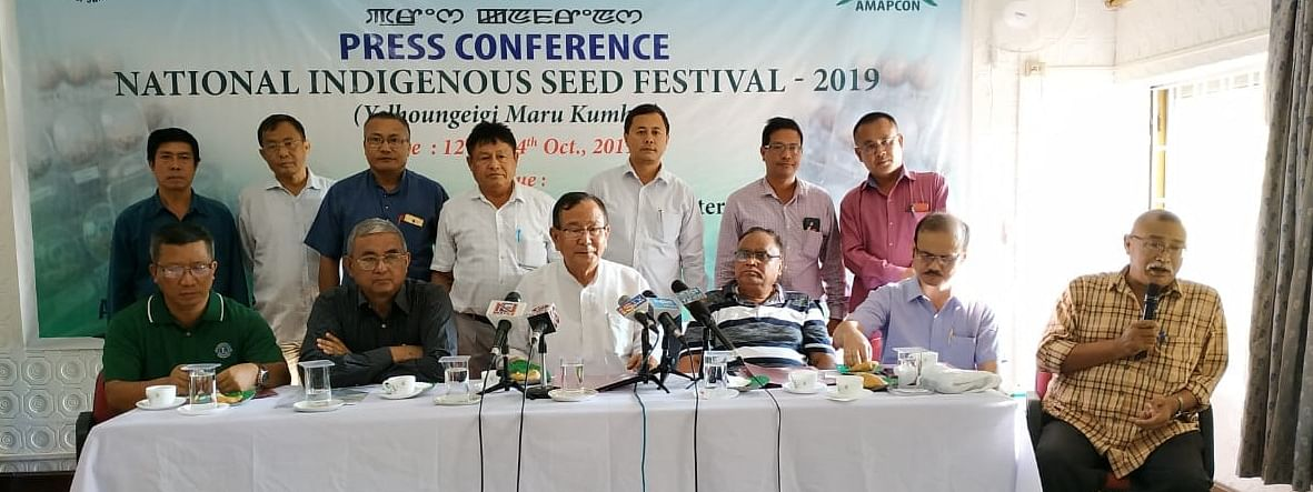 Lok Sabha MP RK Ranjan Singh and members of All Manipur Trained Medicinal and Aromatic Plants Promoters Consortium during a press conference in Imphal on Wednesday