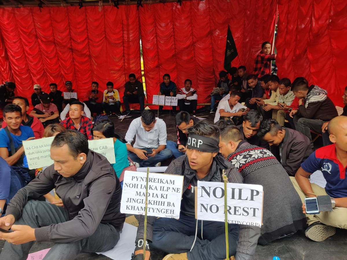Members of the Meghalaya unit of the NEFIP staged a sit-in protest against the Centre move for reintroduction of CAB on Thursday