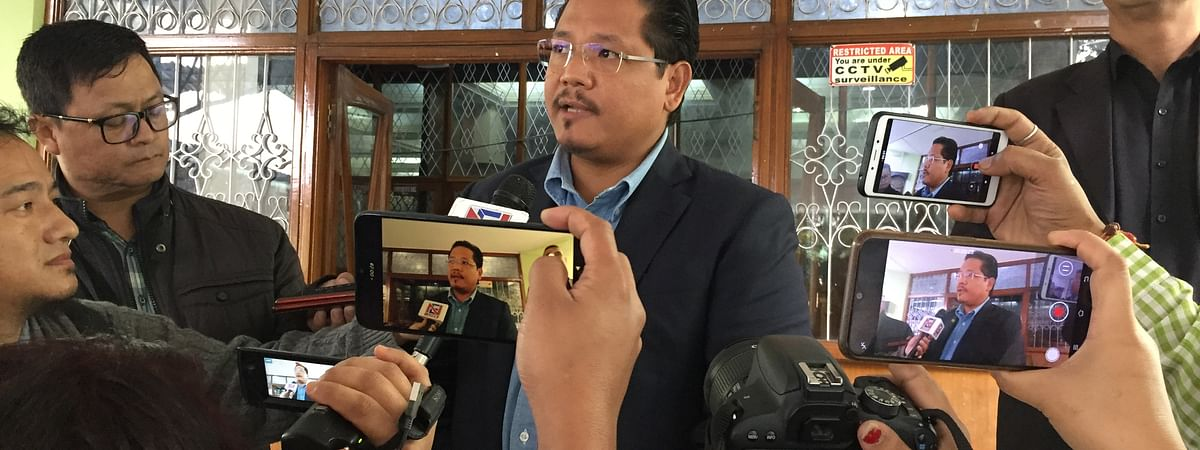 Meghalaya chief minister Conrad K Sangma addressing media persons after attending the selection committee meeting of Lokayukta on Wednesday