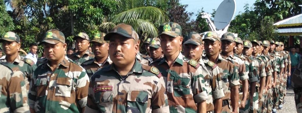 Members of a pro-talk faction of the National Democratic Front of Boroland (NDFB) during their foundation day in Assam