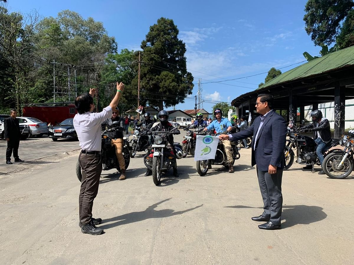 Meghalaya CM Conrad K Sangma flagging off 'Ride East' initiative in Shillong on Tuesday