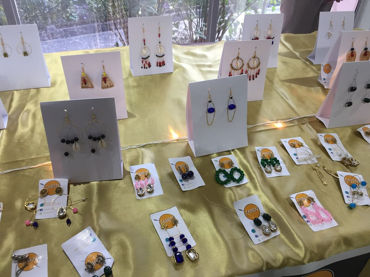 Jewellery being displayed in the exhibition