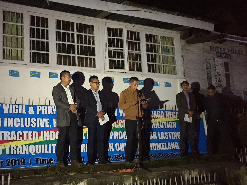 The candlelight vigil cum prayer session in Kohima was held on Monday evening in solidarity with the Naga negotiators for an 'inclusive, honourable and acceptable solution to the protracted Indo-Naga peace process'