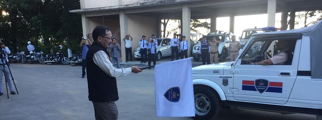 Mizoram's home minister Lalchamliana flags off the state's first tourist police force