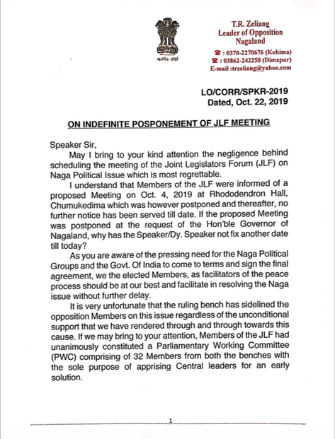 Copy of the letter (page 1) submitted to Nagaland Legislative Assembly Speaker