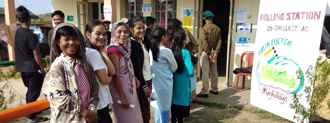 Voters in queue at a polling station in Meghalaya
