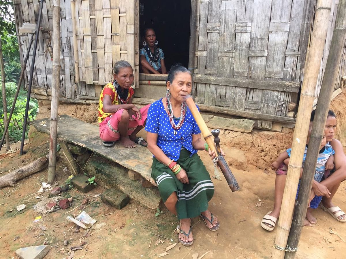 Bru women at a relief camp in North Tripura