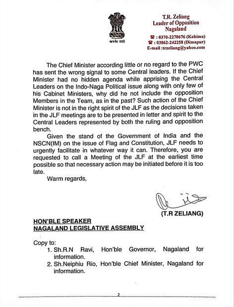 Copy of the letter (page 2) submitted to Nagaland Legislative Assembly Speaker
