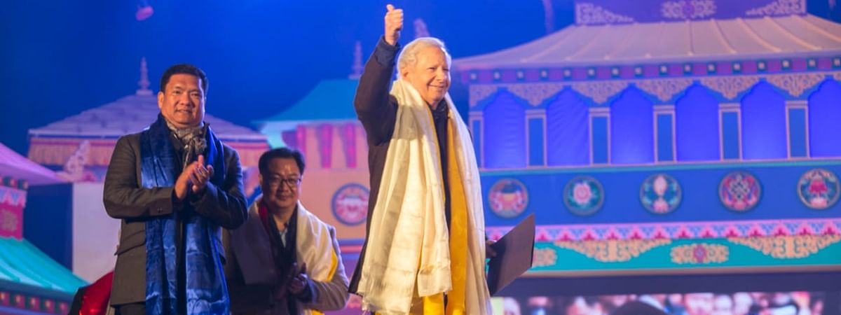 US Ambassador to India Kenneth I Juster (right) along with Arunachal Pradesh CM Pema Khandu (left) and Union MoS Kiren Rijiju at the  Tawang Festival on Monday