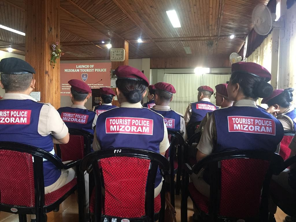 Personnel of the Mizoram tourist police at the launch of the force on Saturday