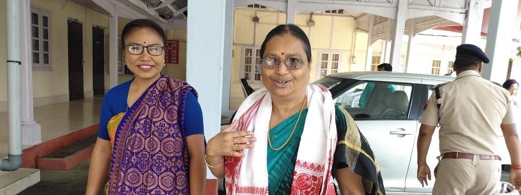 Chikimiki Talukdar (right), chairperson of the Assam State Commission for Women, along with another member of the delegation in Kokrajhar district on Saturday