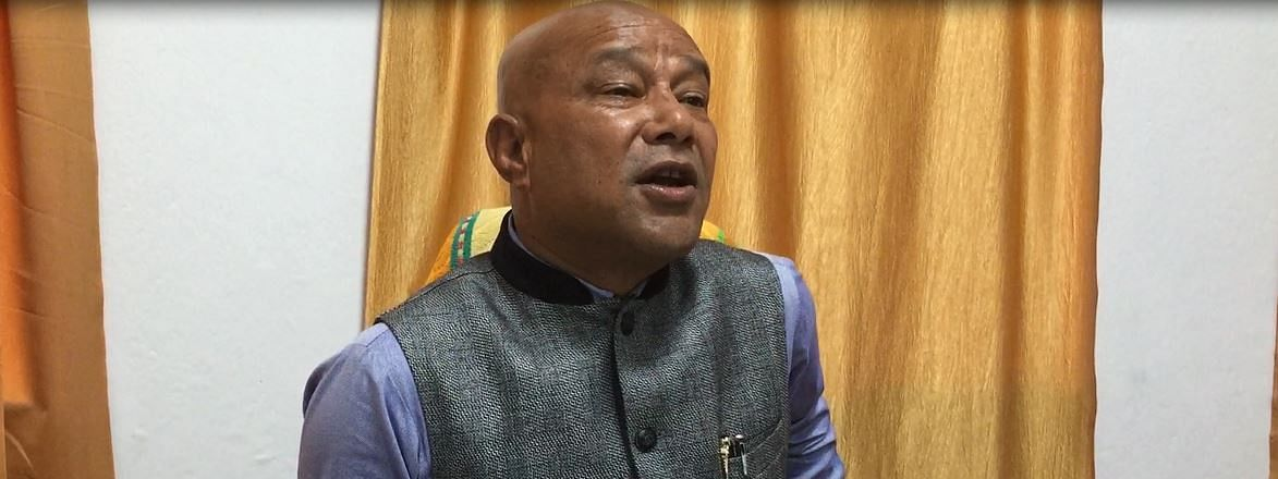 BJP MLA Sanbor Shullai addressing the media in Shillong, Meghalaya on Friday