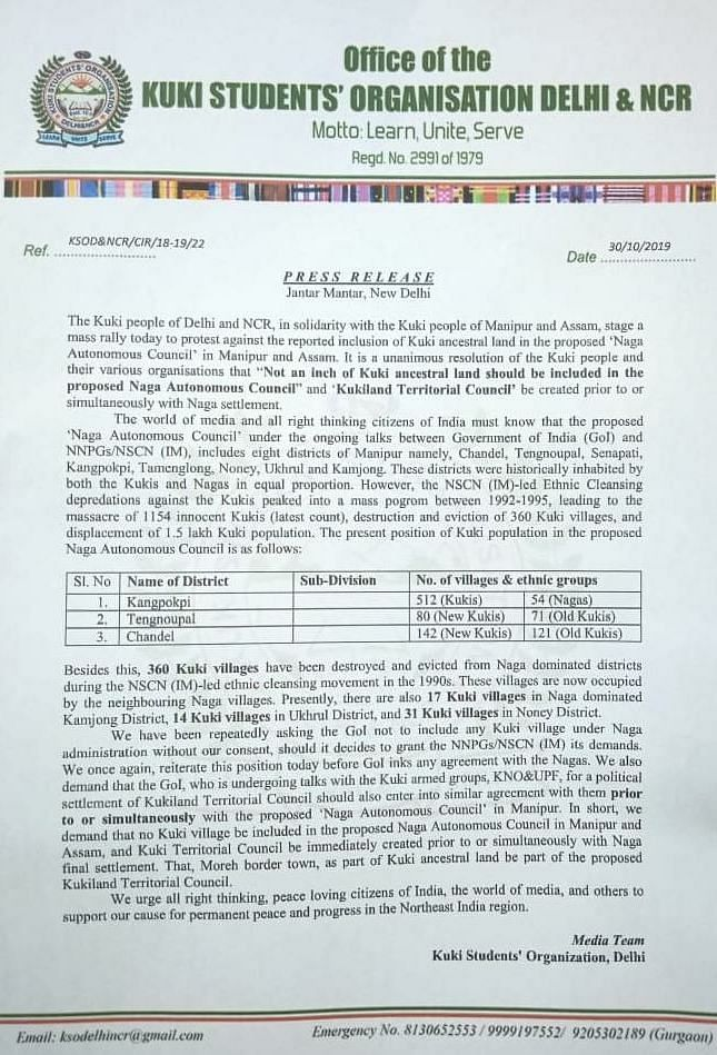 Copy of statement issued to government of India by the Kuki Students' Organisation Delhi & NCR on Wednesday