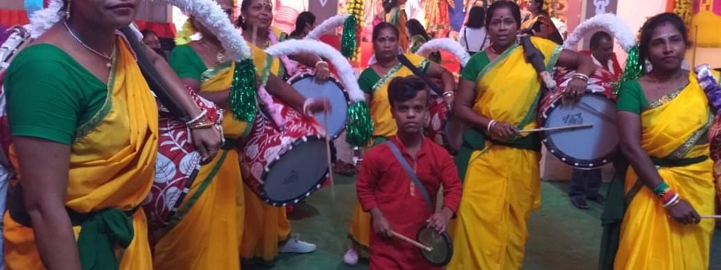 Six women 'dhakis' or drummers from Kolkata of West Bengal have been performing at Titaguri Bhawanipur puja pandal in Assam's Kokrajhar district