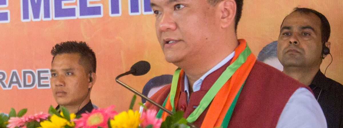 Chief Minister Pema Khandu addressing the gathering at BJP's state executive meeting